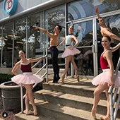 Members of Verb Ballets standing in front of The Dealership in Shaker Heights, Ohio
