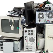 Pile of old computer equipment