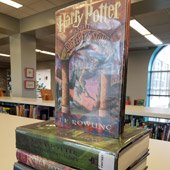 Harry Potter titles stacked