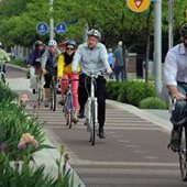 Bicyclists on a multipurpose path