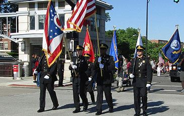 Honor guard walking in the Memorial Day Parade in Shaker Heights, Ohio