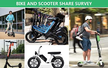 Graphic showing examples of electronic scooters and electronic-assist bicycles